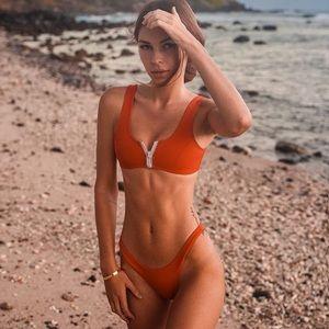 Red Zip Up Hoaka Bikini Set